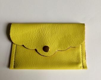 Lemon yellow leather wallet