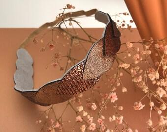 Headband in copper leather petals