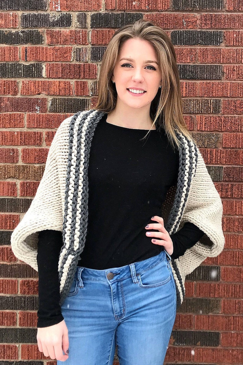 Two-Tone Knit Blanket Sweater