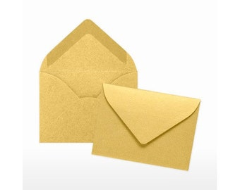 120gsm coloured envelopes, mini paper envelopes Small Pearlescent Gold Envelopes 94mm x 65mm bulk wedding favours UK
