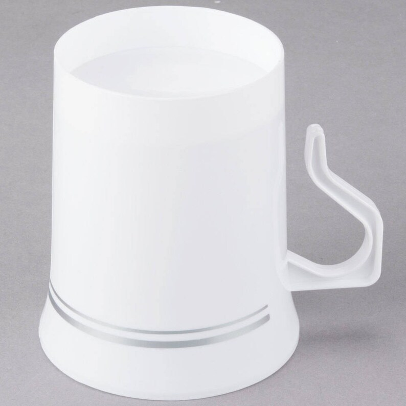 0b43a868121 10 ct 8oz White Silver Line Border Plastic Disposable Coffee Mug, Wedding  Tableware, Party Tableware, Plastic Cup, Disposable Cups, Mugs