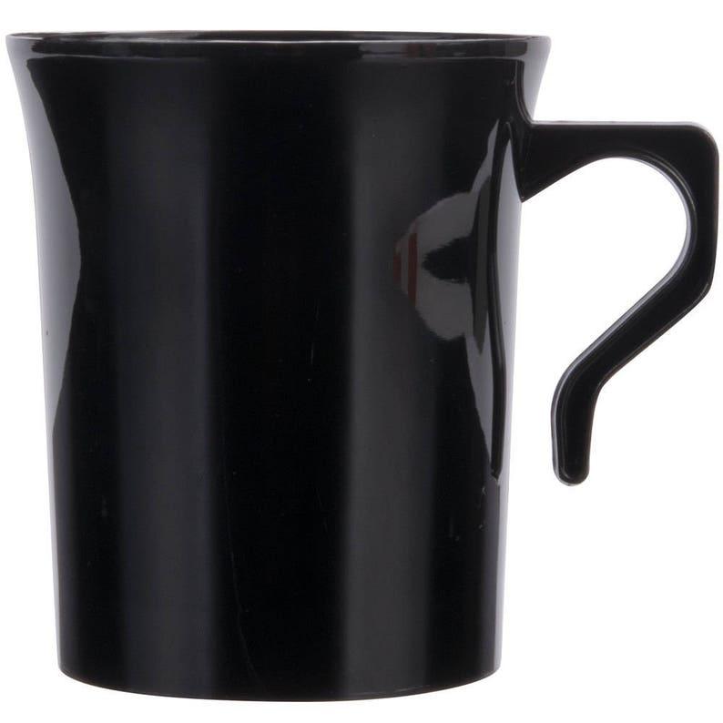 ff2f1417542 10ct 8 oz Black Plastic Disposable Coffee Mug, Wedding Tableware, Party  Tableware, Disposable Cup, Plastic Cup, Plastic Coffee Cup, Mugs