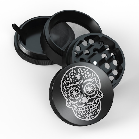 Herb Grinder Black 4 Pieces Santa Muerte Laser Engraved Cooking Accessory  High Quality Friends Gift