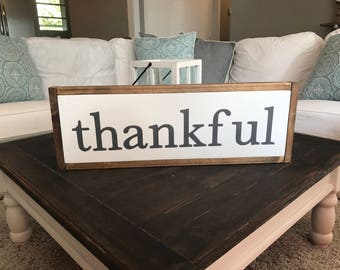 thankful | 2ft x 7.25in | framed wood sign | home decor | farmhouse style | farmhouse sign | gallery wall | hand painted sign