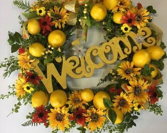 Sunflower and Lemon Door Wreath