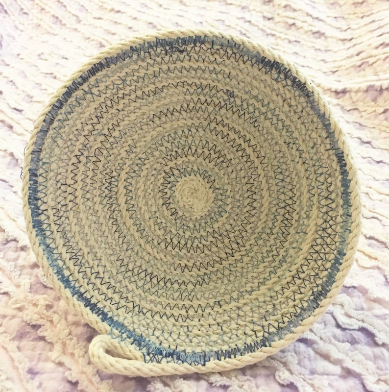 Small Clothesline Rope Bowl With Light Blue Variegated Thread Etsy