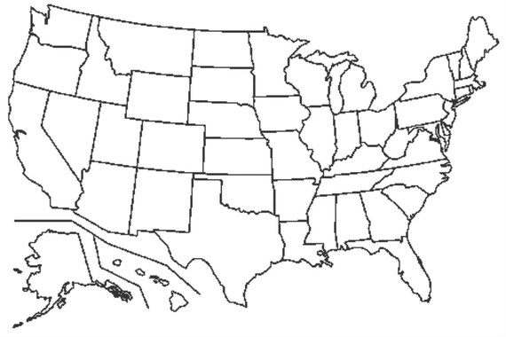 Visited States Map -- Fill It In As You Travel --- United States Map Cross  Stitch Pattern