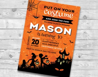 diy spooky costume party invites halloween house party diy etsy