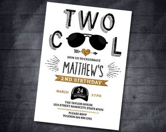 Two Cool Birthday Second Invitation Party 2nd Invite