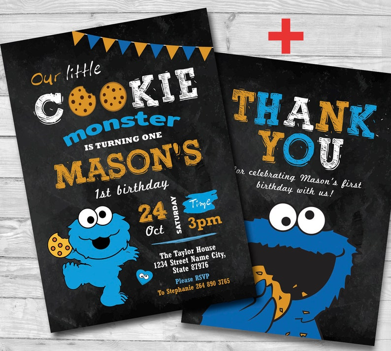 Cookie Monster 1st Birthday Invitation Thank You Card Invite 5x7