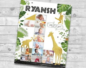 Safari First 12 months collage, Jungle 1st birthday photo poster, Jungle First year photo board, Wild One Photo Poster