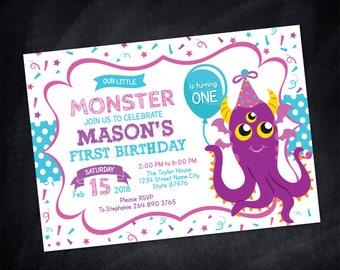 Monster Birthday Invitation Little Monster Birthday Invitation monster invitation monster party invitation monster birthday Monster Party