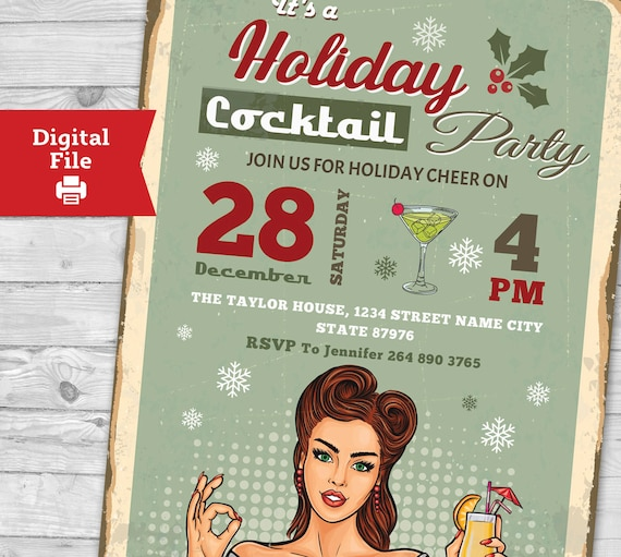 Cocktail Party Einladung Retro Christmas Party Einladungen Urlaub Cocktail Party Einladung Weihnachten Laden Adult Christmas Party Einladen