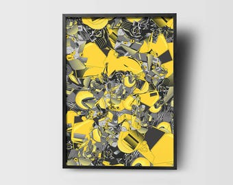 Bumblebee transformer poster // abstract print //transformer movie // yellow robot // toys // fan art //Retro Transformers// kid room