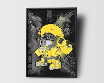 Bumblebee transformer // minion //abstract poster //transformer movie // yellow robot // toys // fan art //Retro Transformers// kid room