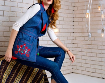Vyshyvanka vest, Embroidered fashion denim vest,ukrainian store,ukrainian gifts, vest, embroidery vest