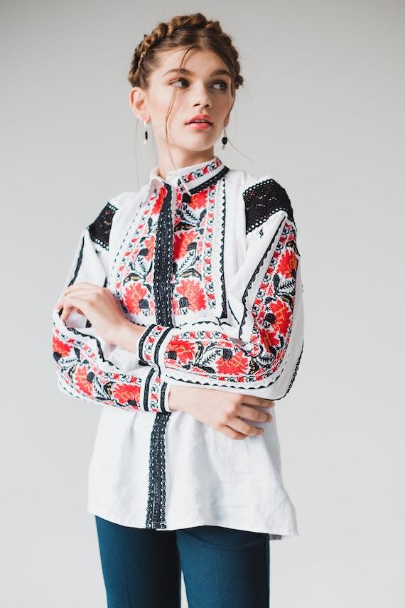 90s embroidered Linen blouse womens Linen Shirt white Linen Clothing Ukraine Embroidery Shirt vintage Linen Top Ukraine Shirt Vyshyvanka