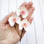 Small Orchid Hairpin - Wedding Flowers Mini Orchid Hair Pin - White Orchid Hair Accessories - Hawaii Orchid Bobby Pin Bridesmaid Hair Clips