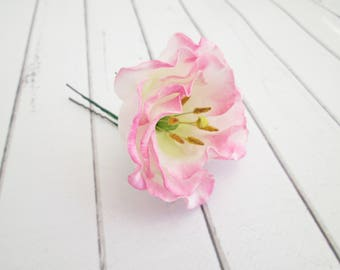Wedding hair accessories etsy pink lisianthus flower hair pin eustoma floral hair accessories pink flower hair pins wedding flower hair accessories flower clips mightylinksfo