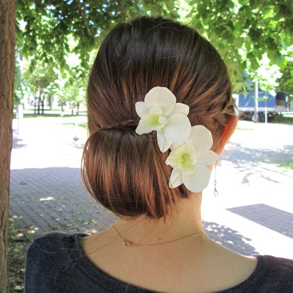 Wedding- Hawaiian White-Ivory-Purple  Orchid hair flower clip