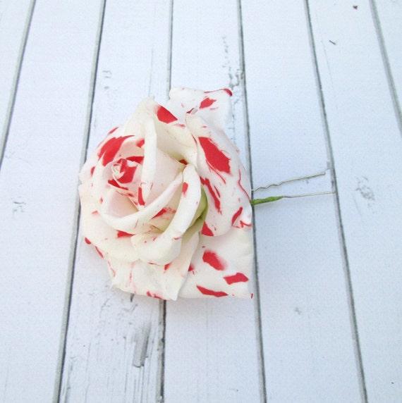 Marmor Rose Haar Pin Rot Weisse Rose Haar Accessoires Etsy