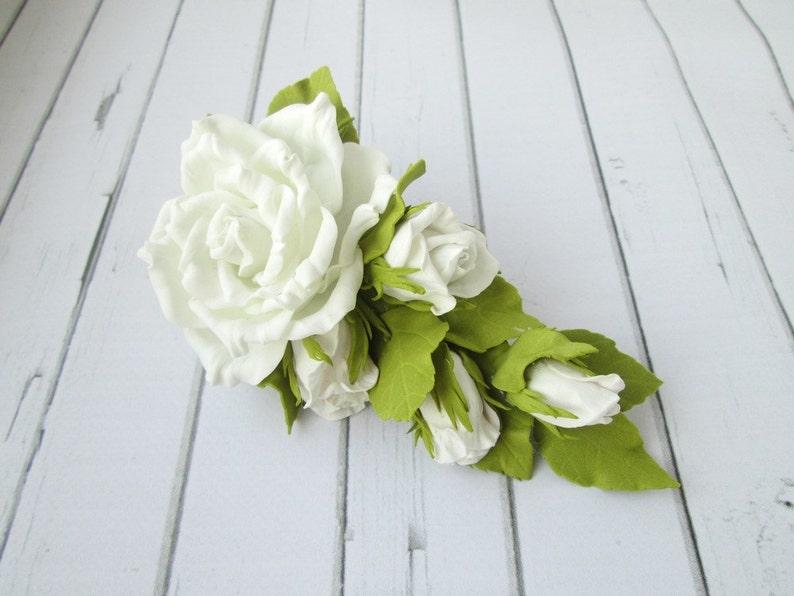 White Rose Hair Clip Formal Flowers Wedding Side Hair Piece Etsy