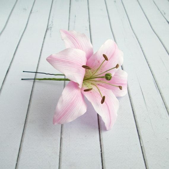 Rosa Lily Hair Pin Braut Grosse Haar Dekoration Echte Blume Etsy