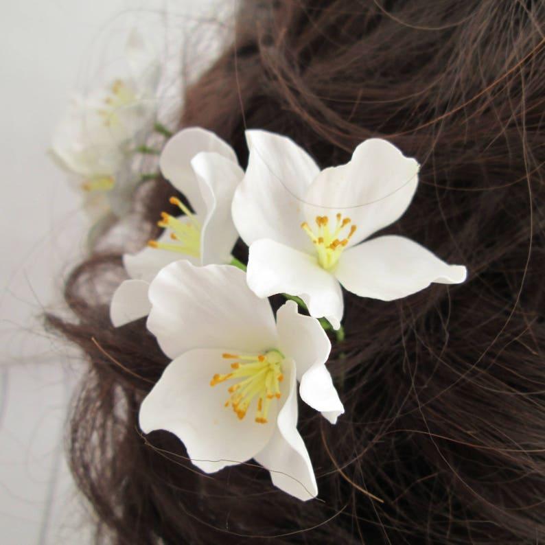 Three Jasmines Wedding White Flower Hair Pin Accessories  image 0