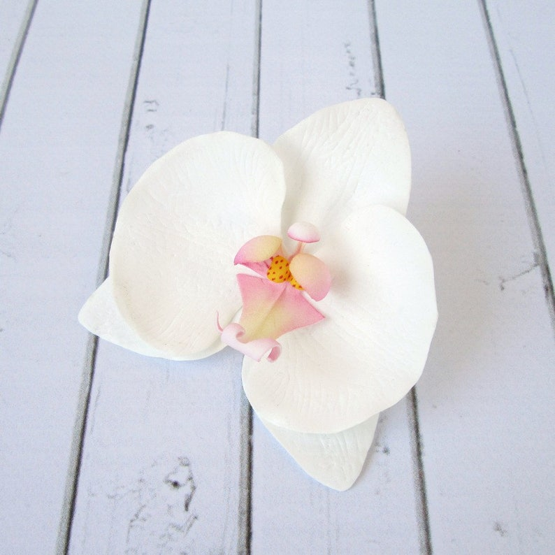 White Orchid Hair Clip  Orchid Hairpin  Wedding Flower Hair image 1