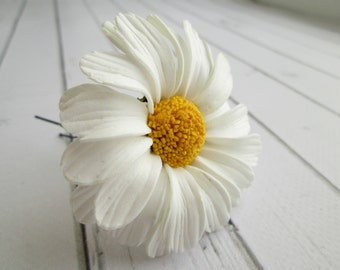Big White Daisy Hair Pin Accessories - Summer Wedding Daisy Flower Hairpin - Camomile Hair Decoration - Girls Floral Bridal Hair Accessories
