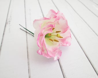 Pink Lisianthus Flower Hair Pin - Eustoma Floral Hair Accessories - Pink Flower Hair Pins - Wedding Flower Hair Accessories - Flower Clips