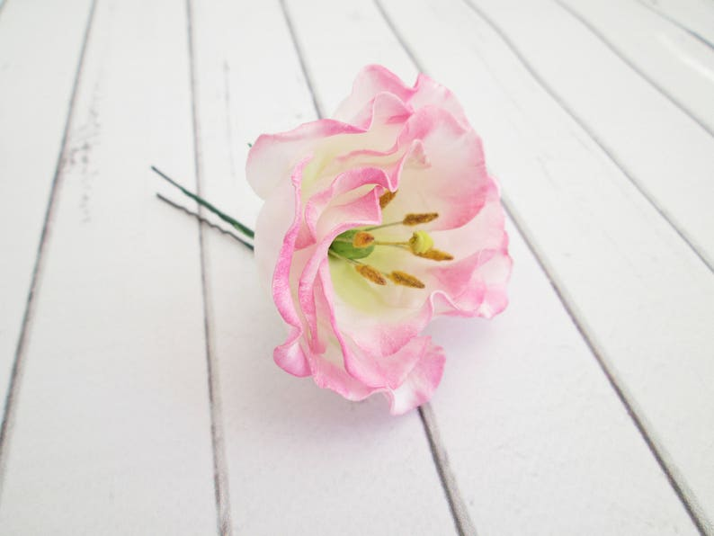 Pink Lisianthus Flower Hair Pin  Eustoma Floral Hair image 0