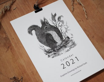 Calendar 2021 with Clamp, A5 Format - Drawing, Pencil, Graphite, Art, Art, Print, Forest, Animal, Nature, Illustration