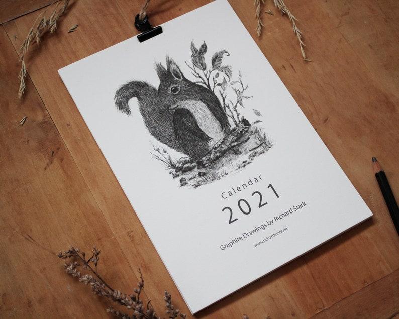 Kalender 2021 mit Klemme A5 Format Zeichnung Bleistift   Etsy
