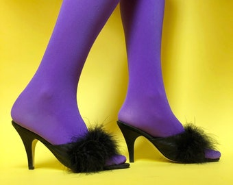 17f86a1f39f1 Size 5.5 Frederick s of Hollywood Boudoir Slippers w  Marabou Feather   Stiletto  Heel