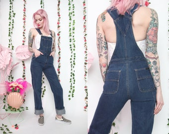 4754bf14e165 Vtg 70s Fitted High Waisted Long Denim Overalls sz XS