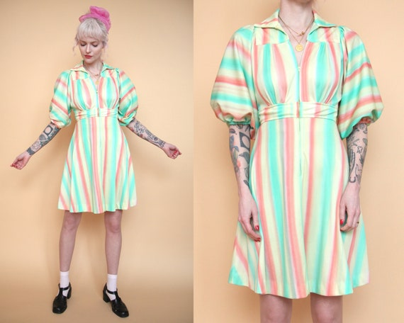 Vtg 70s Pastel Sherbet Striped Mini Dress w/ Ballo