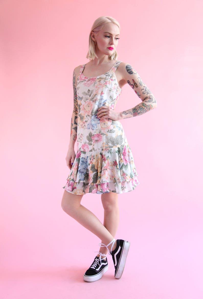 SALE Vtg 90s Pastel Floral Drop Waist Chiffon Dress w Ruffle Skirt sz Medium