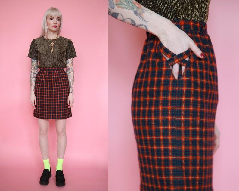 d65d5b1fe8c4 Vtg 80s Red Plaid Pencil Skirt sz 24 XS / High Waisted Skirt | Etsy