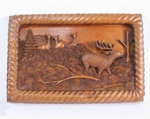 Handcarved wooden panel, France, stag deer, fawn doe diorama sculpted in single piece of wood, one-off wall art plaque