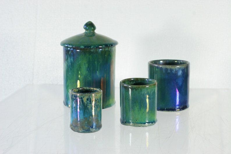Iridescent stoneware pot set  French Art Nouveau era  Alphonse Cytere  Rambervillers  French green to blue to purple iridescence  Nancy