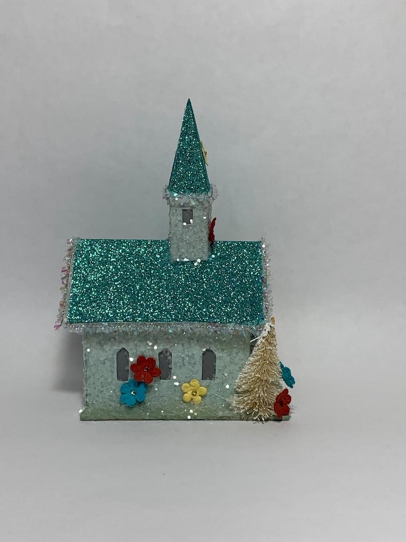 Happy Spring Easter /'Fresh Dawn/' Glitter Putz Church House