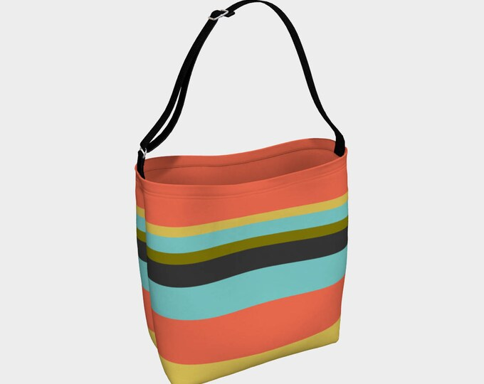 Striped Tote Bag, Orange and Blue Striped Bag, Large Tote Bag, Versatile Tote Bag, Roomy Tote, Beach Bag, Market Bag, Book Bag