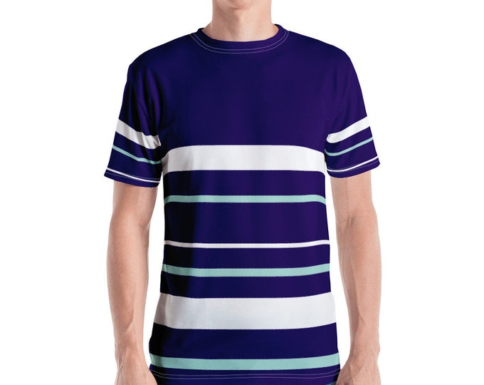 Retro Navy/Mint Stripe Men's T-shirt