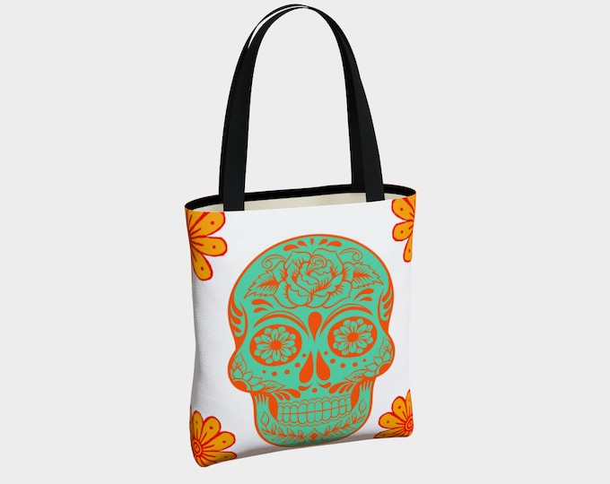 Sugar Skull Canvas Tote Bag, Dia de los Muertos Tote, Shoulder Bag, Tote Bag, Tote with Pockets, Fashion Tote Bag, Everyday Tote Bag