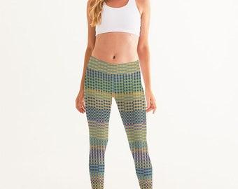 Yoga Pants for Women, Modern Plaid Printed Leggings