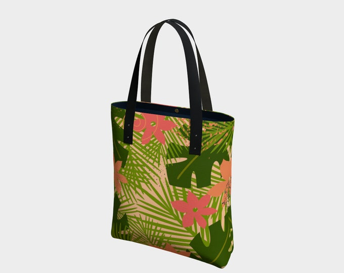 Palms and Flowers Canvas Tote Bag, Tote, Shoulder Bag, Basic Tote, Urban Tote, Lined Tote Bag, Tote Bag with Pockets, Leather/Cotton Straps