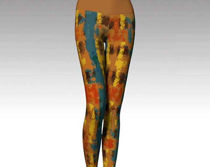 Gold and Teal Plaid Leggings, Modern Leggings, Printed Leggings, Yoga Pants, Yoga Leggings, Women's Leggings