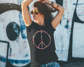 Peace Sign Flower Unisex Black T-Shirt