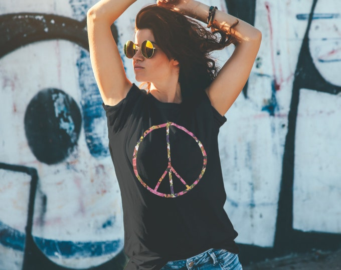 Peace Sign Flowers Unisex Black T-Shirt